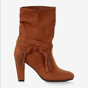 Express Women's Brown Tassel Slouch Boot